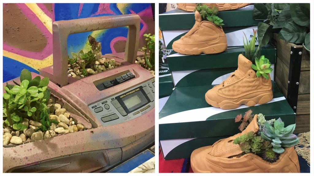 shoe planters and boom box planter