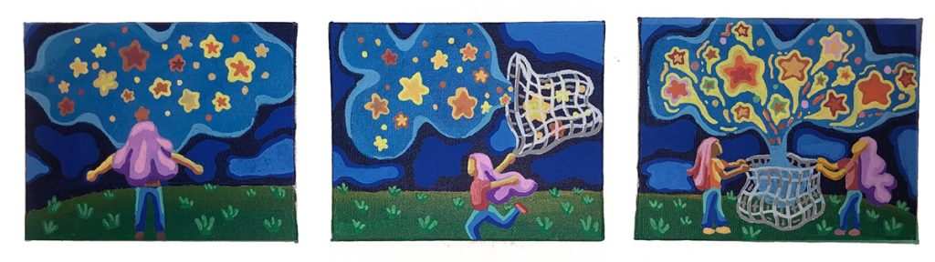 triptych girl catching stars