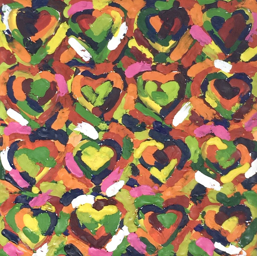 repeated hearts painting