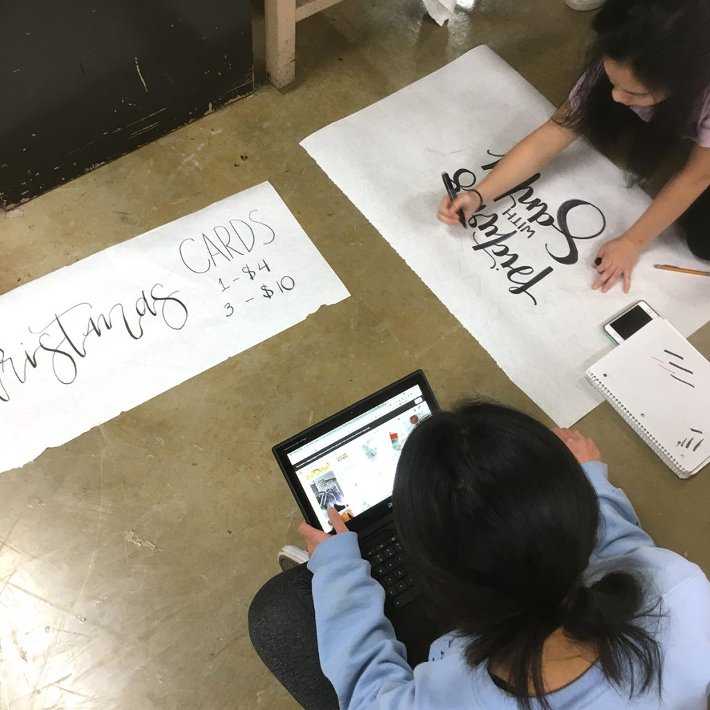 students making signs