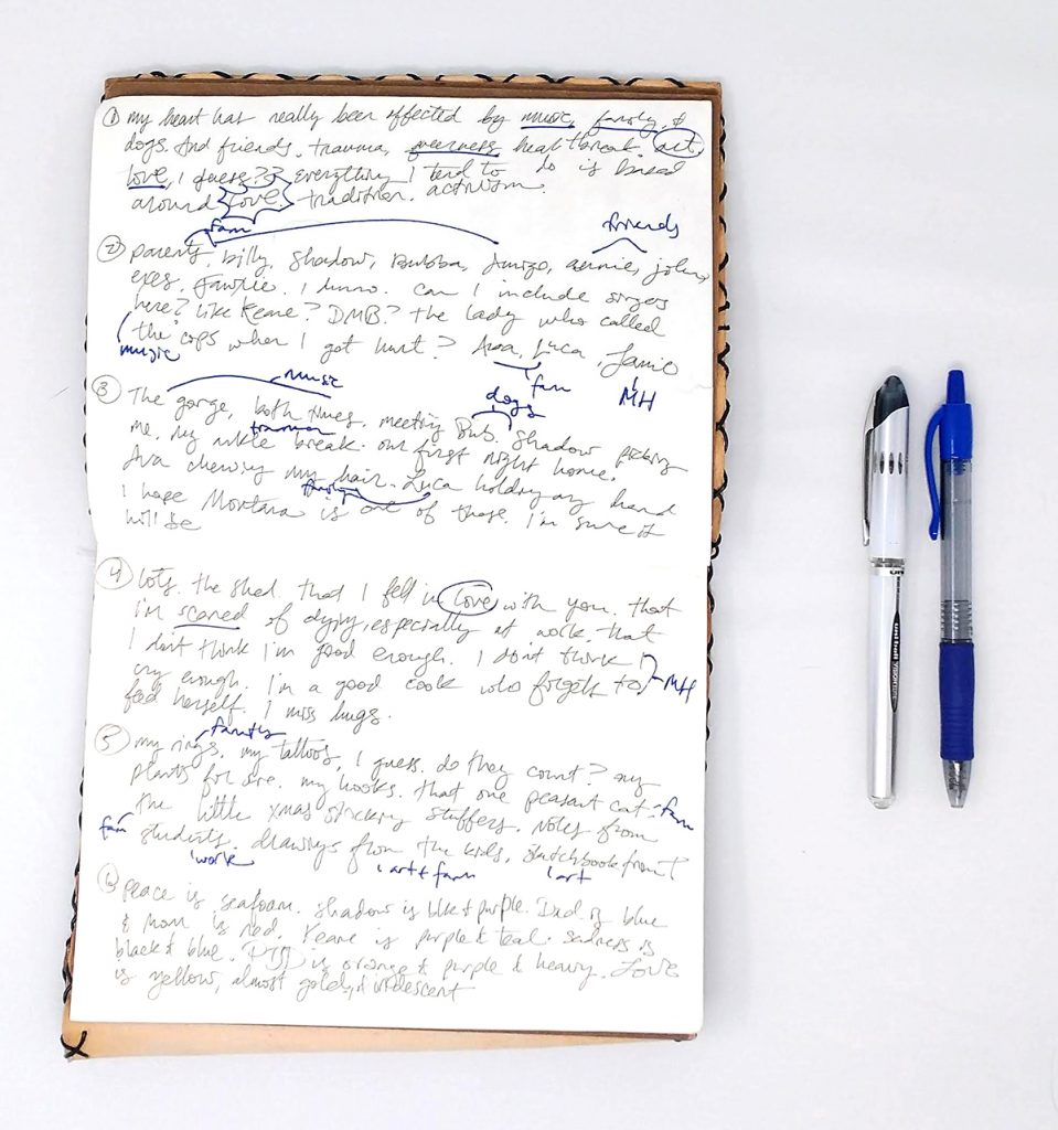 sketchbook with writing