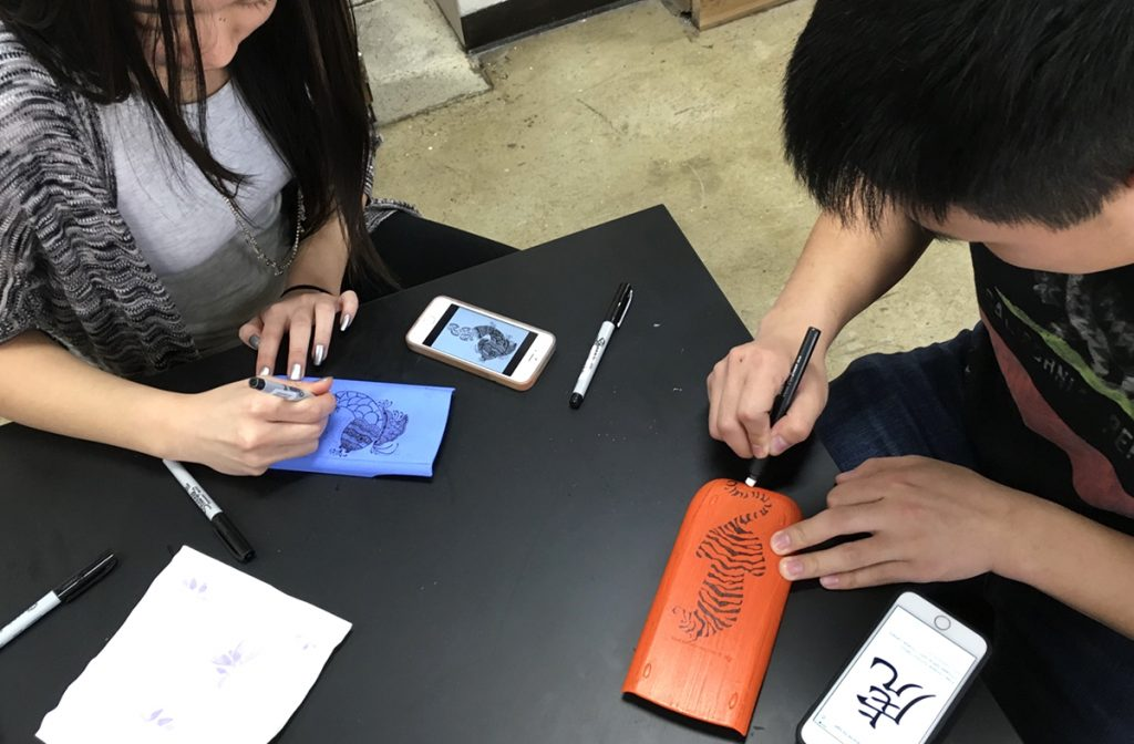 students decorating calculator covers