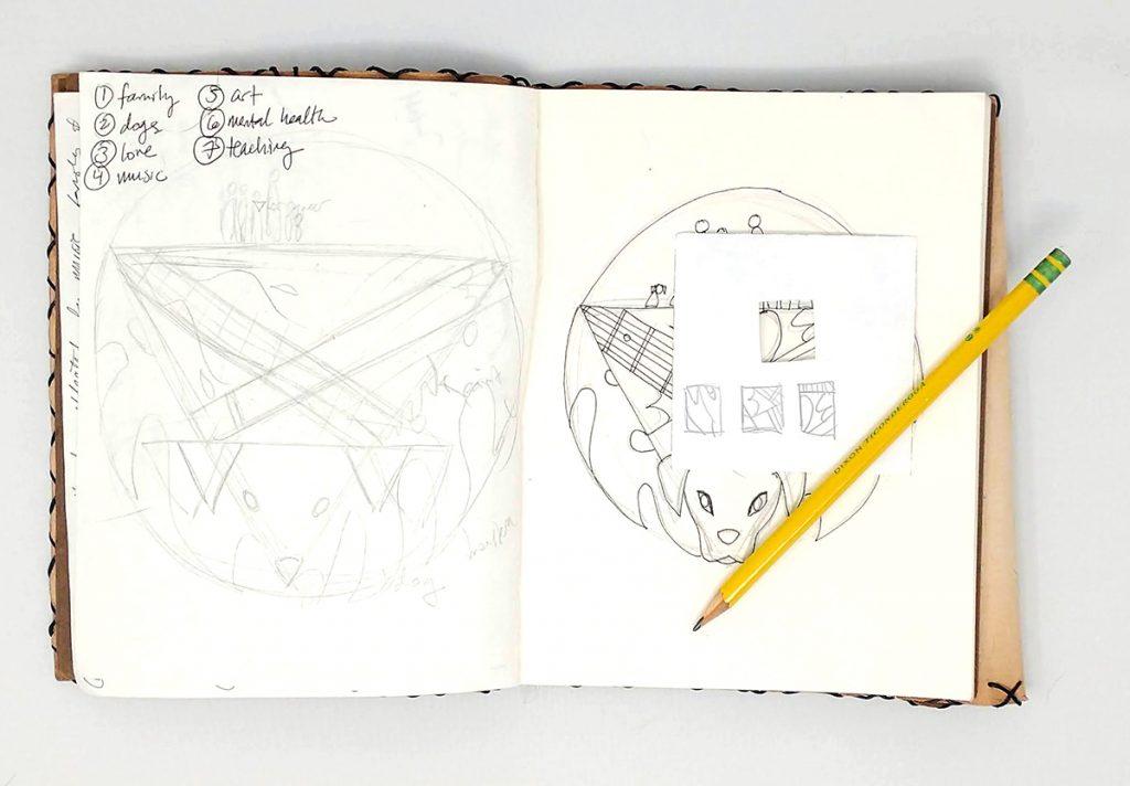 viewfinder example with sketchbook