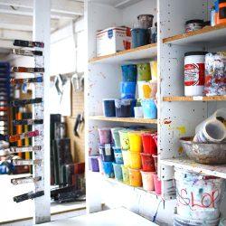 art supplies on shelves