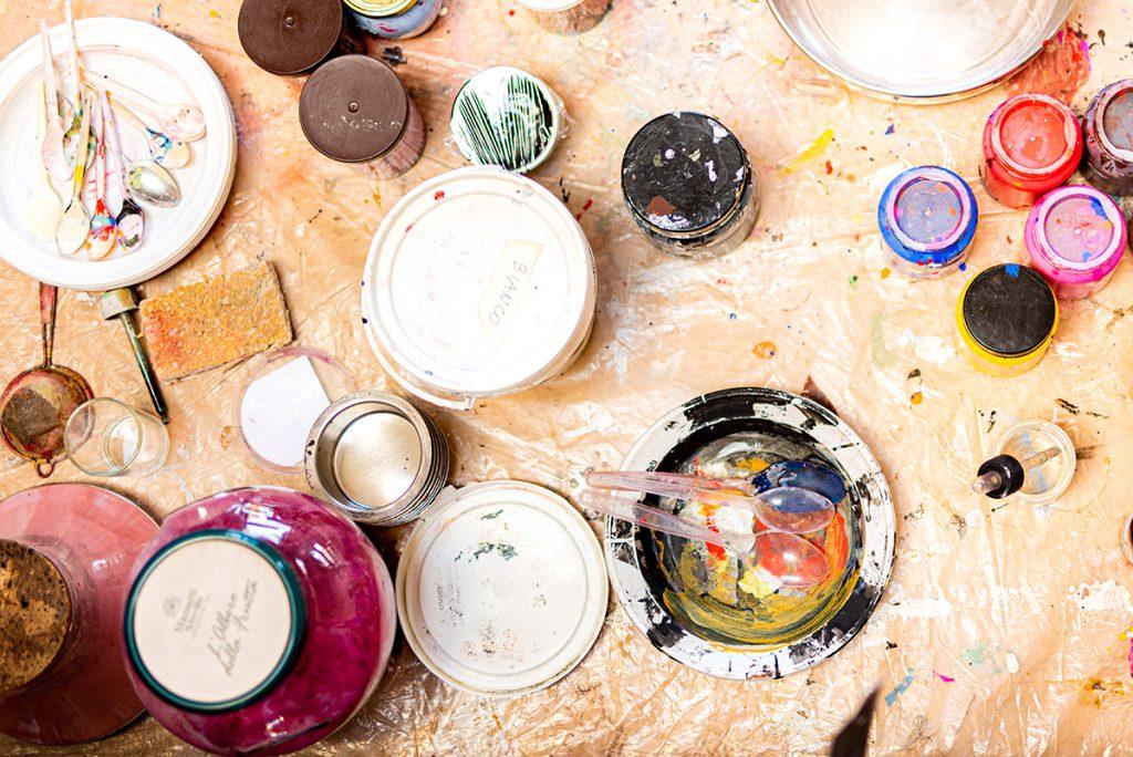 art supplies on table