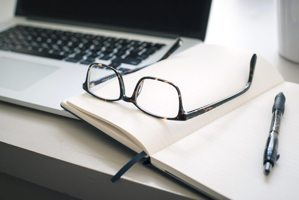 laptop, notebook, glasses