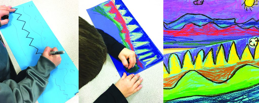 students drawing pastel lines and final landscape exemplar