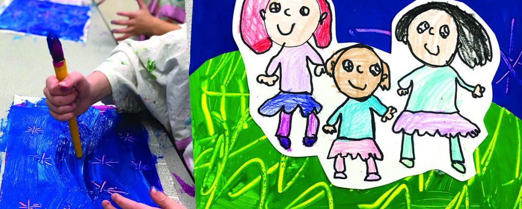 student scratching into paint and exemplar of final family portrait