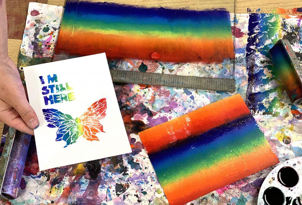 rainbow screen print