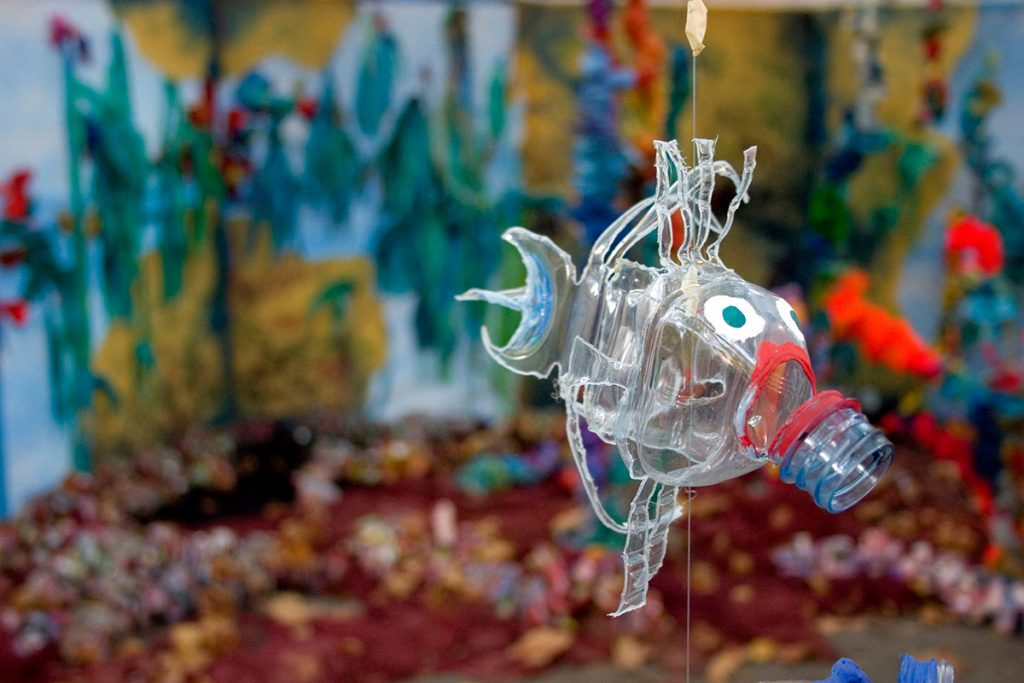 recycled fish sculpture