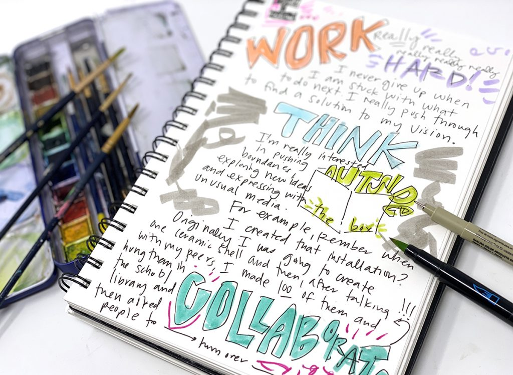 open sketchbook and watercolors