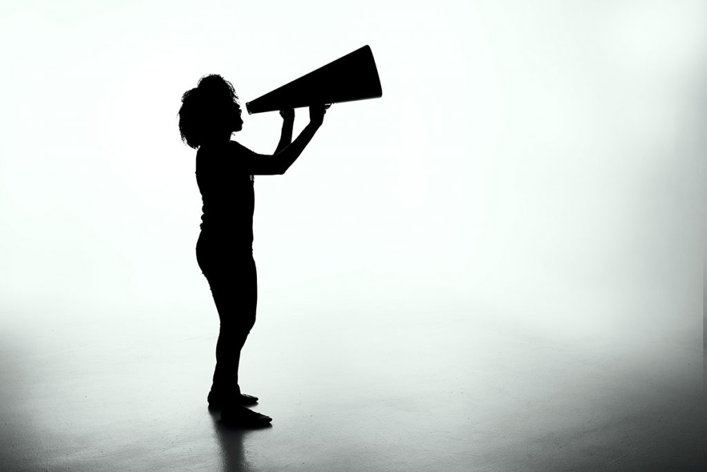 silhouette with megaphone