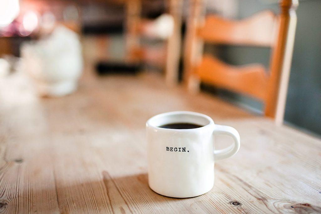 mug that says begin