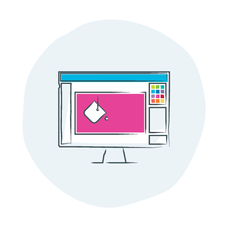 illustrated computer with paint bucket and pink fill | Studio: Graphic Design icon